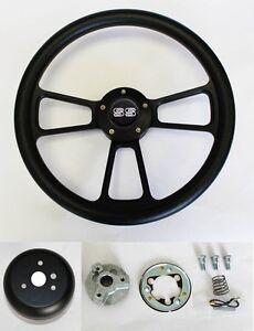 Chevelle-Nova-Camaro-Impala-14-034-Steering-Wheel-Black-on-Black-SS-Center-cap