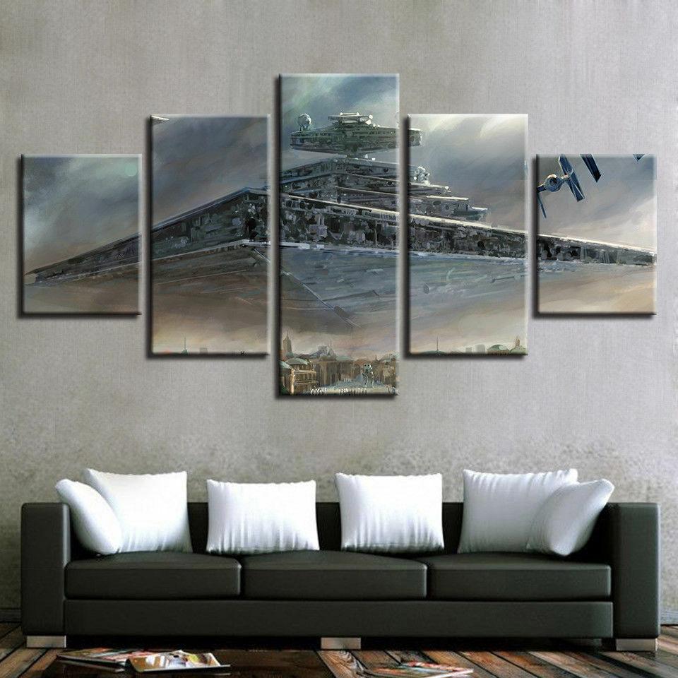 Star Destroyer Tie City Star War Five Piece Framed Canvas Multi Panel Home Decor