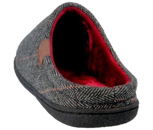 Mens Jo /& Joe Tweed Fair Isles Cable Knit Faux Fur Lined Slip On Mules Slippers