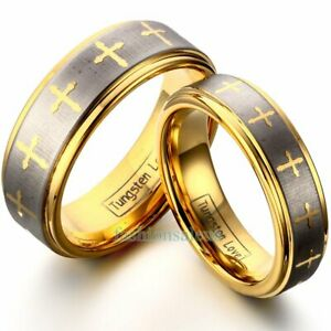8mm-6mm-Tungsten-Carbide-Gold-Cross-Men-039-s-Women-039-s-Band-Ring-Celtic-Design-New