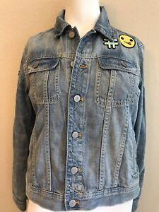 659fa607fba5 Gap Kids Girls Size XXL 14 16 Denim Jacket Distressed Blue Jean Coat ...