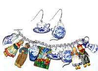 Blue Delft Bracelet & Earrings Set - Dutch Children Pottery Shoe Teapot Cup Etc.