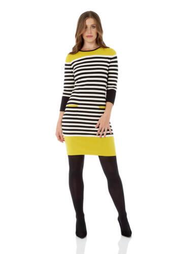 Roman Originals Women Stripe Knit Pocket Dress in Lime size 10-20