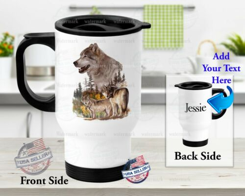Stainless Steel Tumbler 14oz Travel Mug Customized With Name Brown Wolf Design