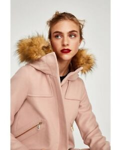 bd32647e0 Details about Zara Women Short Coat With Textured Hood Pink Size S NWT