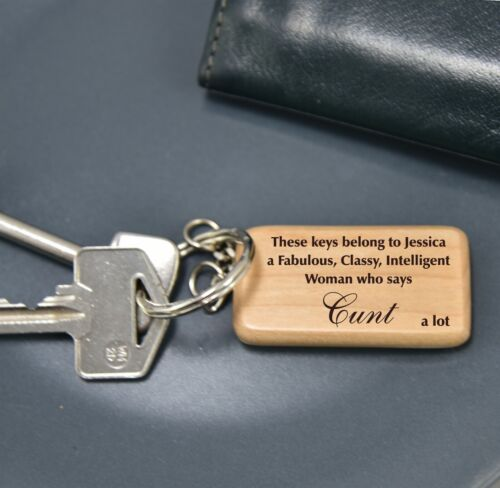 Personalised rude keyring for her 60735 swear funny novelty friend work gift