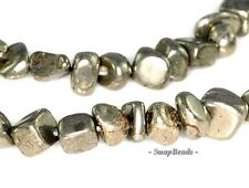 """PALAZZO IRON PYRITE GEMSTONE NUGGET GRANULE PEBBLE CHIPS 5MM-6MM LOOSE BEADS 16"""""""