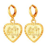 Heart Shaped Allah Drop Dangle Earrings 18k Gold Plated Muslim Islamic Jewelry