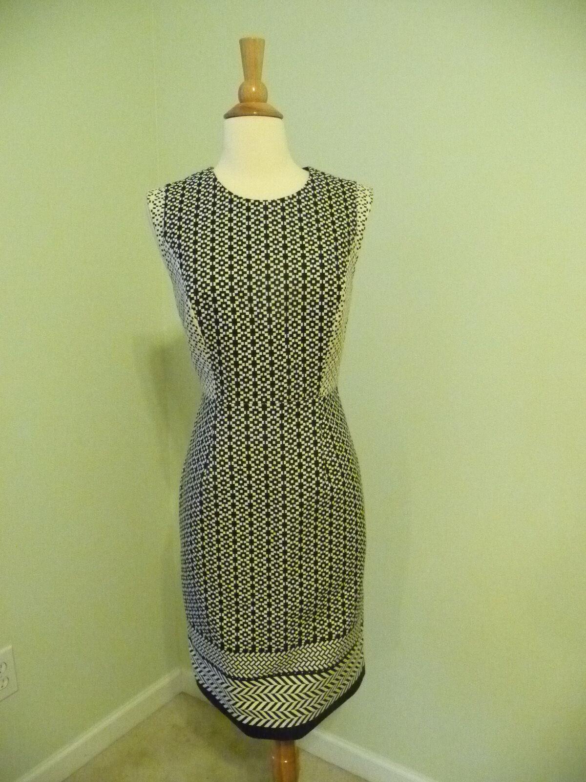 nyA J.CREW PANED GEOMETRIC DRESS, F0075, storLEK 6, VITT MULTI,