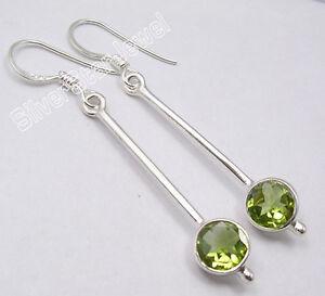 "925 Solid Silver High End Peridot Factory Direct Long Earrings 2"" 3.2 Grams Fashion Jewelry Earrings"