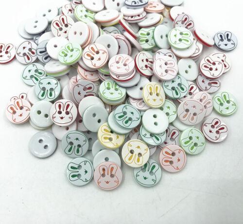 200X Bottoni in Resina Coniglio modello Colori Misti per Cucito Album Ritagli 13mm