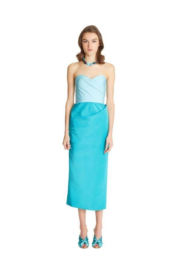OSCAR DE LA RENTA bluee Drape Silk Old Hollywood Glam Glam Glam Radzimir Faille Strapless 2 96e876