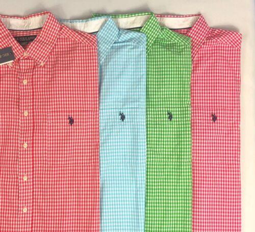 Men/'s US Polo Assn Big /& Tall Small Gingham Checker Short Sleeve Shirt *