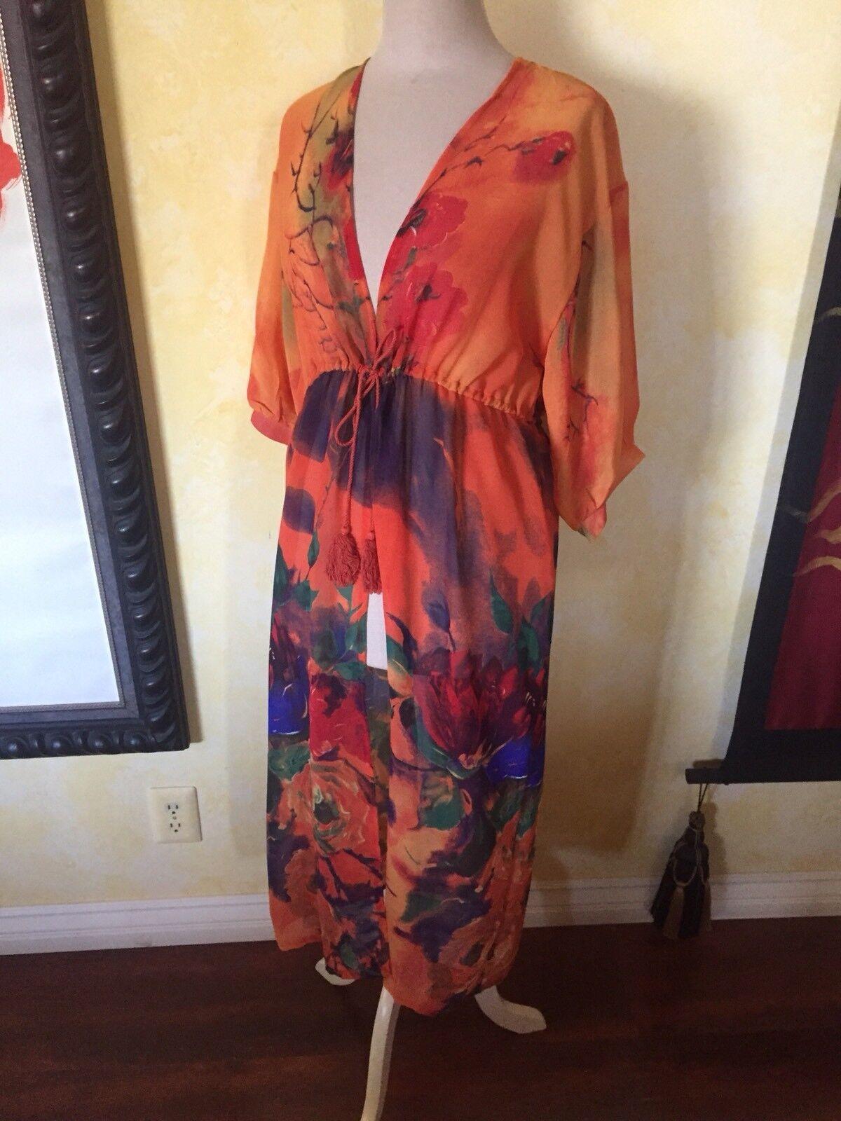Woven Heart Art Boho Kimono Coat Duster OS Festival NWT Duster Floral Pumpkin