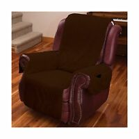 Recliner Chair Cover One Piece W/armrests And Pockets - One Siz... Free Shipping