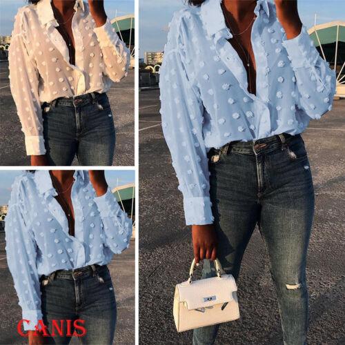 Women/'s See-through Sheer Mesh Polka Dot Blouse Long Sleeve T-shirt Tops Blouse