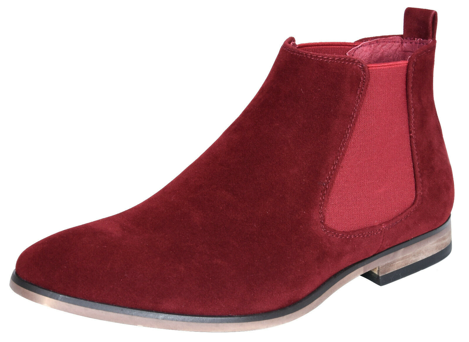 Mens Wine Italian Suede Chelsea Ankle Boots Smart Casual Desert Dealer Slip On