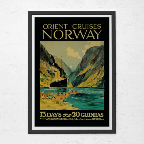 Vintage Nautical Travel Poster Cruise S NORWAY TRAVEL POSTER Vintage Poster