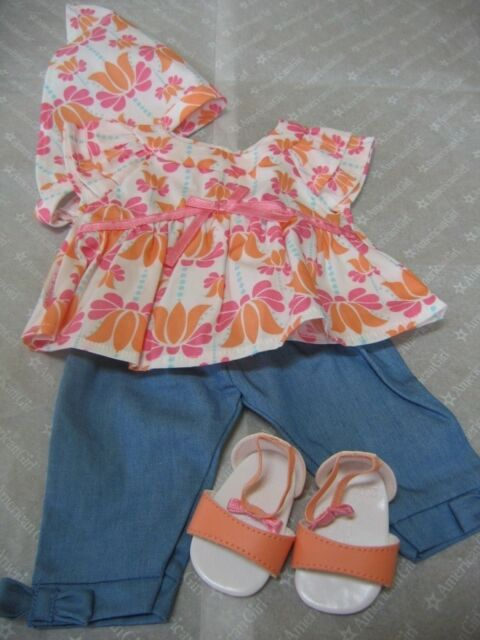 American Girl Bitty Baby Twin Fun In The Sun Set Scarf Shoes 4pc For