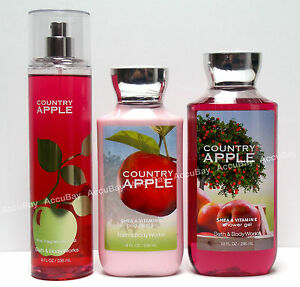 3pc-Set-COUNTRY-APPLE-Fine-Fragrance-Mist-Lotion-Shower-Gel-Bath-and-Body-Works