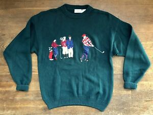 IZOD Sweater Size Large Mens Vintage Golf Green Ugly Sweater Novelty