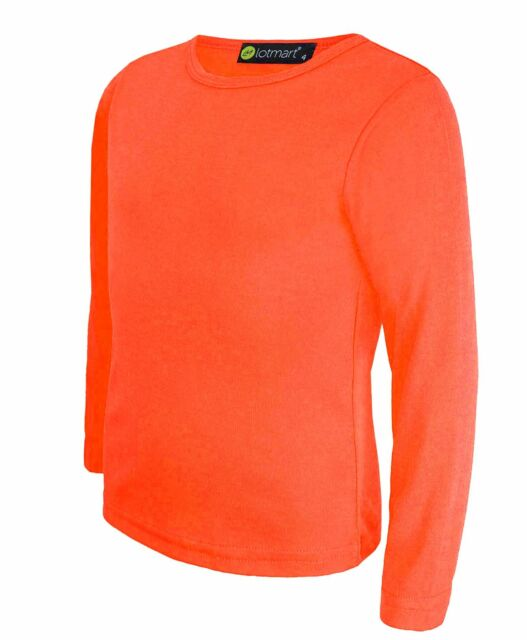 2191d0ef ... Long Sleeve Boys Girls T-shirt Tops Crew Uniform Tee 3-14y Dark Orange  13-14 Years. About this product. Picture 1 of 2; Picture 2 of 2. Picture 2  of 2