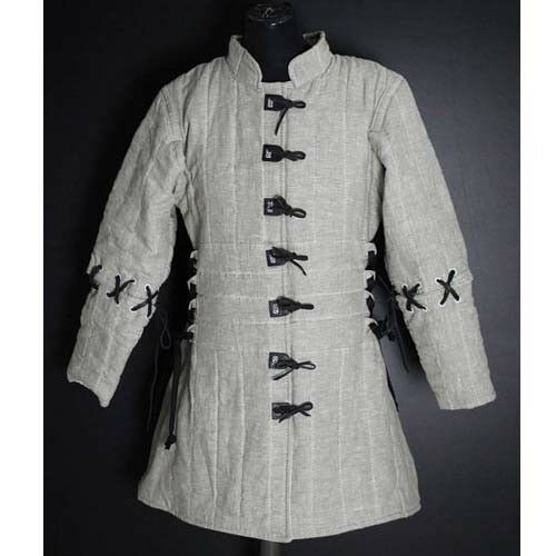 Design Medieval Thick Padded White Gambeson Play Theater Custome Sca