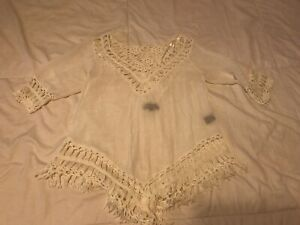 Stunning-MIEEION-Fringe-V-Neck-Blouse-Shirt-Top-Tassels-Size-Large-Ladies