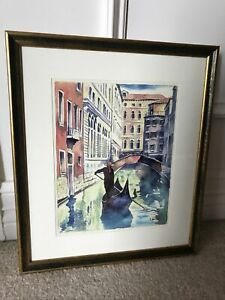 BEAUTIFUL-SIGNED-VINTAGE-VENICE-ITALY-SIGNED-WATERCOLOR-CANAL-PAINTING-ZANGA