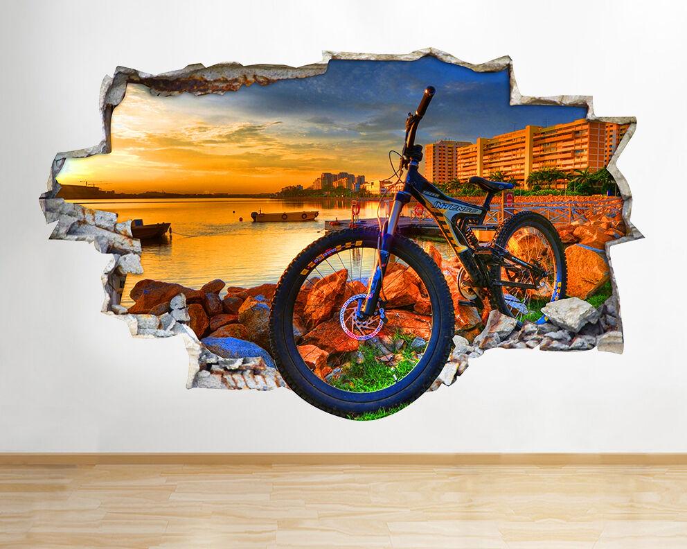 Q011w Deportes bicicleta de ciudad Sun pegatina pared vinilo 3d habitación niños