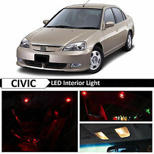 Red Interior LED Light Package Kit 2001-2005 Honda Civic Sedan Coupe