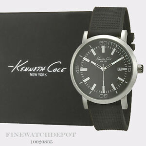 Authentic-Kenneth-Cole-Black-Silicone-Strap-Watch-10020835