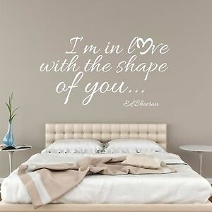 Details about Ed Sheeran Shape of You lyrics heart wall sticker decal art 2  sizes 7 colours