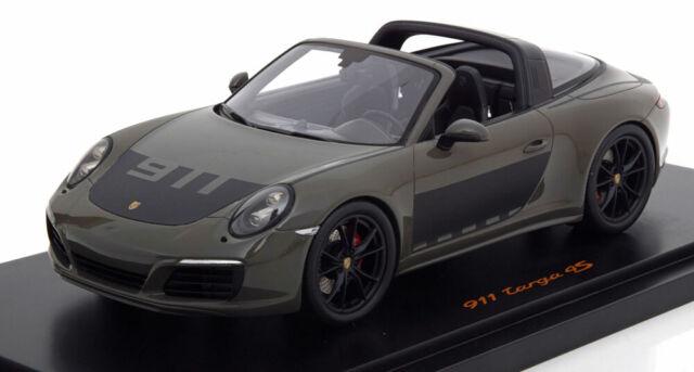Porsche 911 991 II Targa 4s 2017 gris oscuro//negro con vitrina 1:18 Spark
