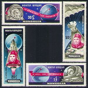 Mongolia-1961-Yuri-Gagarin-Manned-Space-Flight-Rockets-Parachute-4v-set-n33688