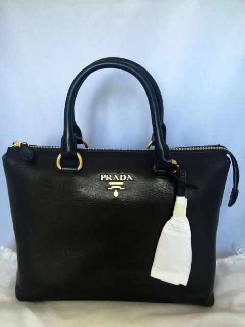 Prada Black Cervo Shine Tote Bag 1ba063