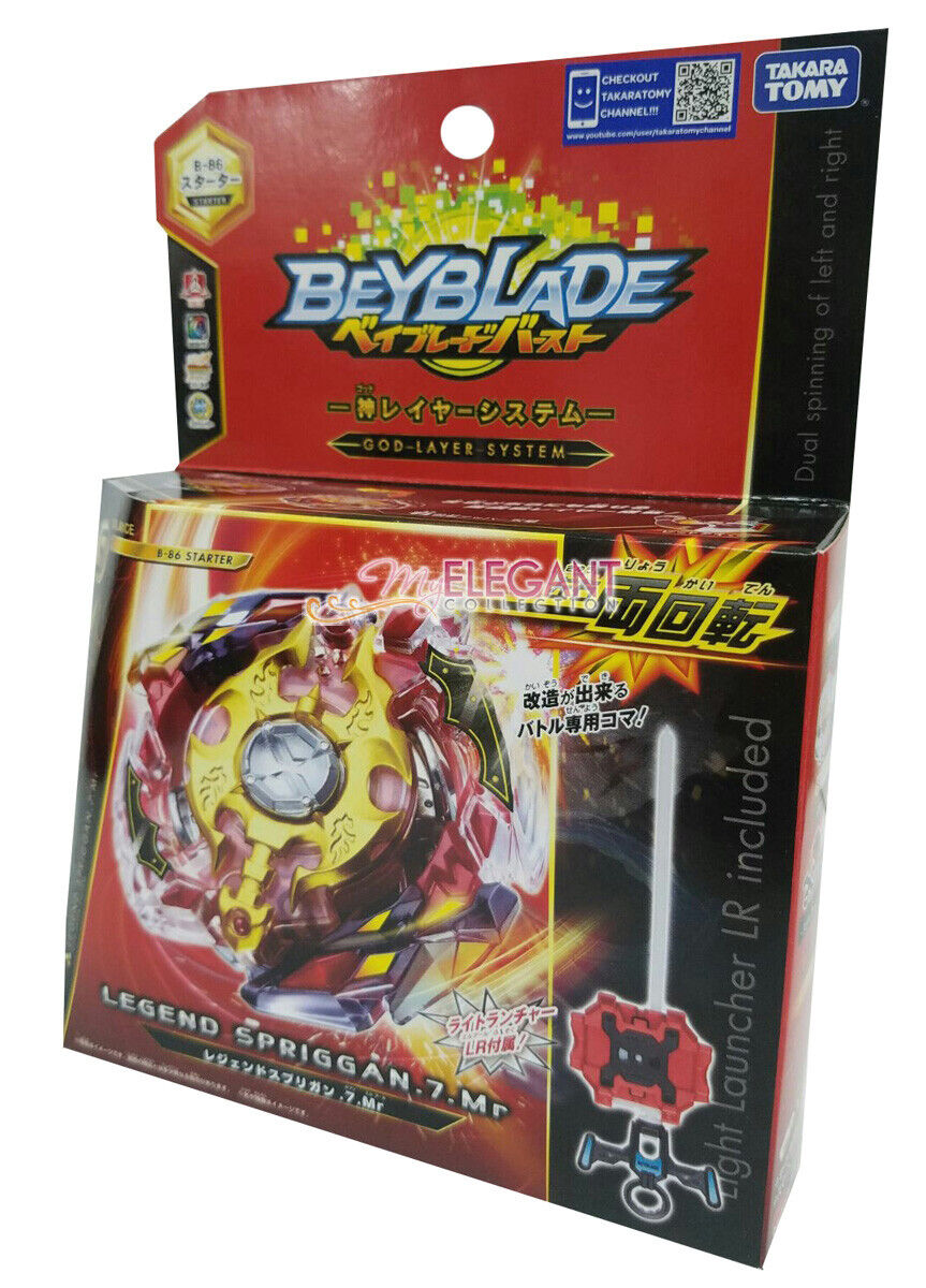 B86 Beyblade Burst Combat Legend Spriggan .7.MR W//L-R Launcher Grip Play Set