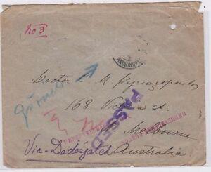 WW1-period-cover-stamps-Turkey-Adrianopel-Bulgaria-to-Australia-passed-censor