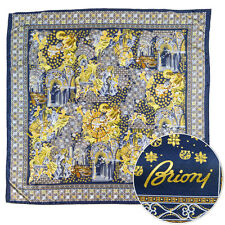 "New BRIONI Square Navy Roma 39"" 100% Silk Wrap Scarf Shawl Headscarf"