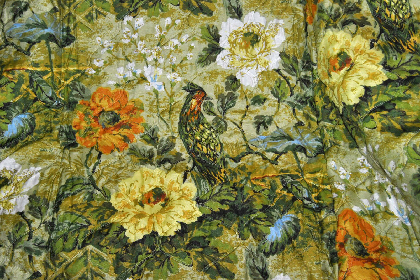 RARE Vintage KODEL EASTMAN  Bedspread Twin Size Birds Floral UNUSED