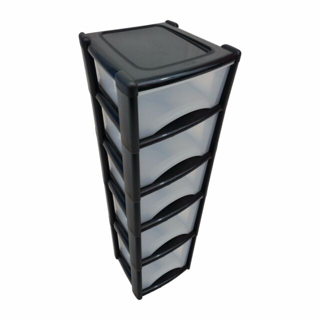 Plastic Drawer Unit Deep Drawers 5 High Kitchen Bedroom Garage Draw Made In Uk