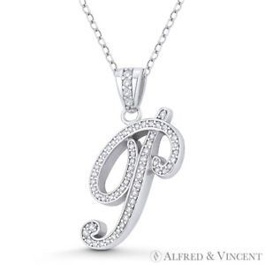 Sterling Silver Rhodium Plated White Diamond Monogram Letter Q Pendant Necklace White Diamond 925 Sterling Silver Rhodium plating