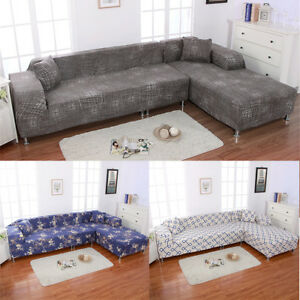 Image Is Loading Sofa Covers L Shape 2pcs Polyester Fabric Stretch