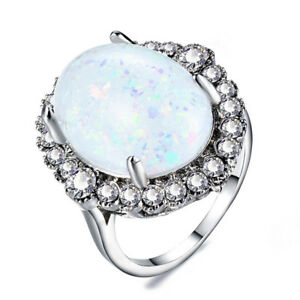 Oval-Cut-White-Fire-Opal-CZ-Rings-Women-039-s-Wedding-White-Gold-Jewelery-Size-6-10