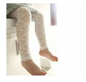 NEW-Baby-Girl-Cotton-Lace-Legging-Crop-Pants-Ivory-white-0-9-mos-or-9-18-mos