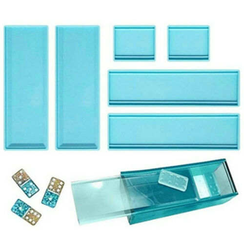 DIY Crafts Domino Storage Box Epoxy Resin Mold Container Casting Silicone Moulds