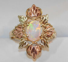 Black Hills Gold 10 x 6 mm Fire Opal Leaves Ring Size 7