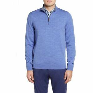 Nordstrom-Mens-Shop-Blue-Quarter-Zip-Wool-Pullover-Sweater-New-XL