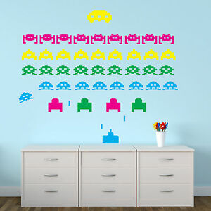 Space Invaders Wall Stickers Pack X 42 Retro Decal Vinyl Transfer Decoration Ebay