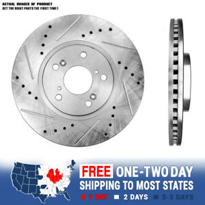 Front-Drill-amp-Slot-Brake-Rotors-For-Acura-CL-TL-MDX-Honda-Accord-Odyssey-Pilot